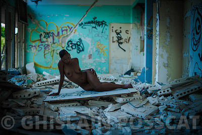 nude black woman in urbex style