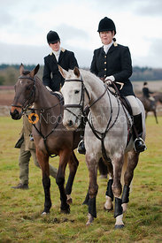 Victoria Sears (on bay) & Jamie Ball Hooker, MFH North Cotswold (on grey)