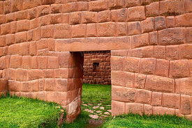 Inca doorway and niche in Huchuy Qosqo site, Cusco Region, Peru