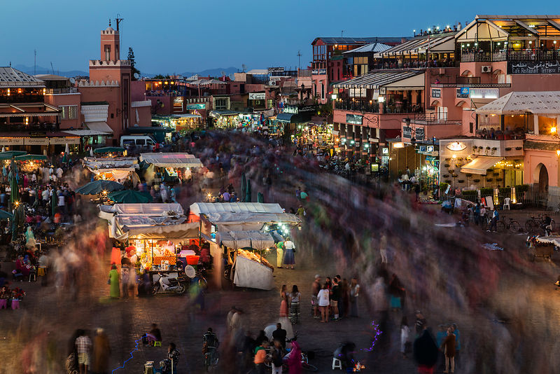 The Central Square at Marrakech at Dusk