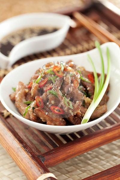 Chinese beef with ginger fried on wok