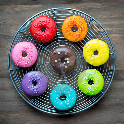 Colorful glazed donuts