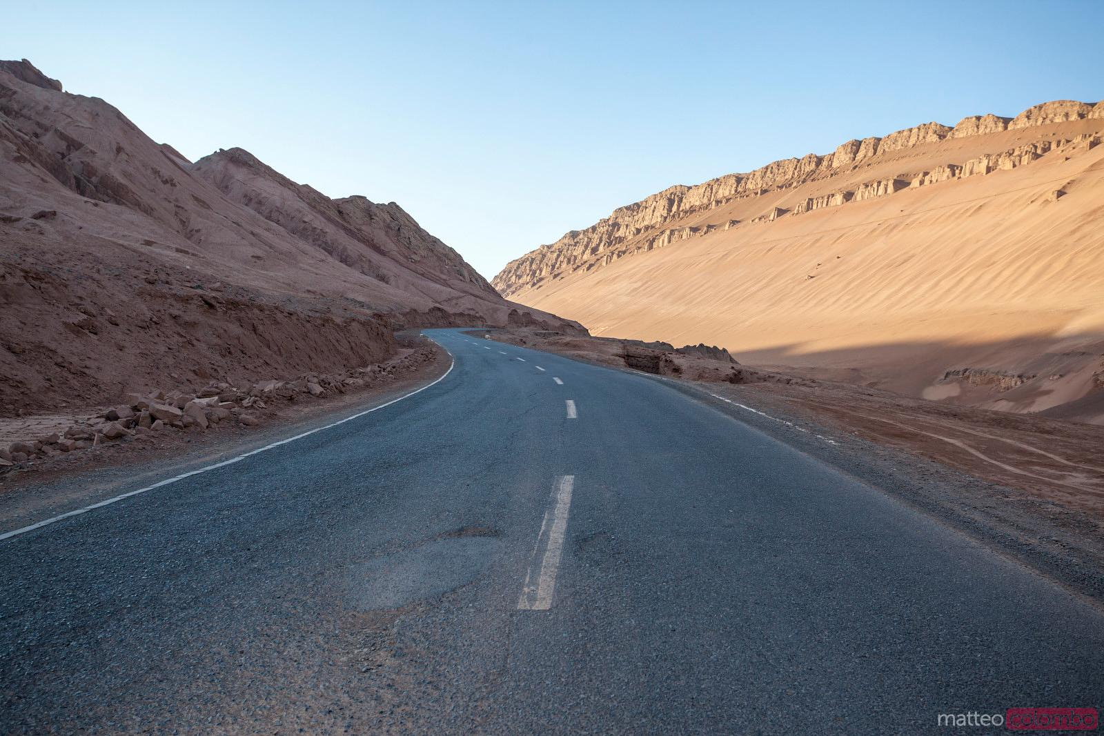 Deserted road through the mountains, Xinjiang, China