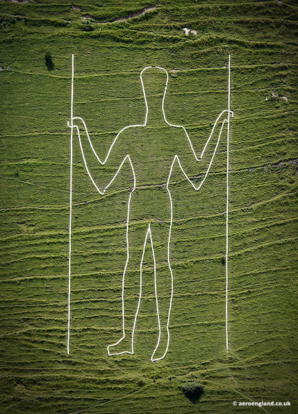 aerial photograph of the Long Man of Wilmington  East Sussex  England UK
