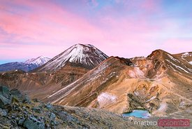 Volcanic landscape at dawn, Tongariro crossing, New Zealand