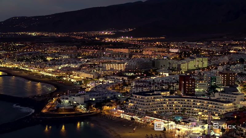 Costa Adeje at night, filmed by drone, Tenerife, Canary Islands