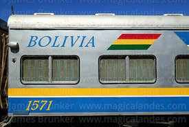 Detail of carriage of the FCA Expreso del Sur passenger service in Uyuni station, Bolivia