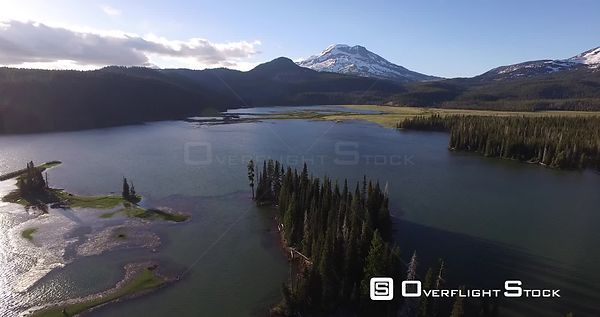 Cascade Lakes High alpine lake and meadow at sunset Near Bend Oregon