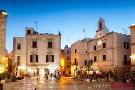Summer night in the old town, Polignano a Mare, Apulia, Italy