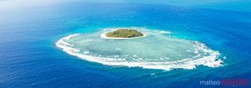 Panoramic aerial view of Tavarua, heart shaped island, Mamanucas, Fiji