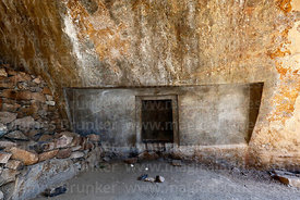 Rock-cut doorway in wall of cave at Ñaupa Iglesia shrine / huaca, Huaracondo Valley, Cusco Region, Peru