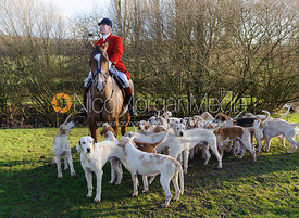 Huntsman Andrew Osborne and hounds