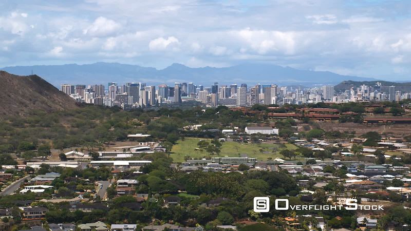 Over Honolulu, downtown in distance.