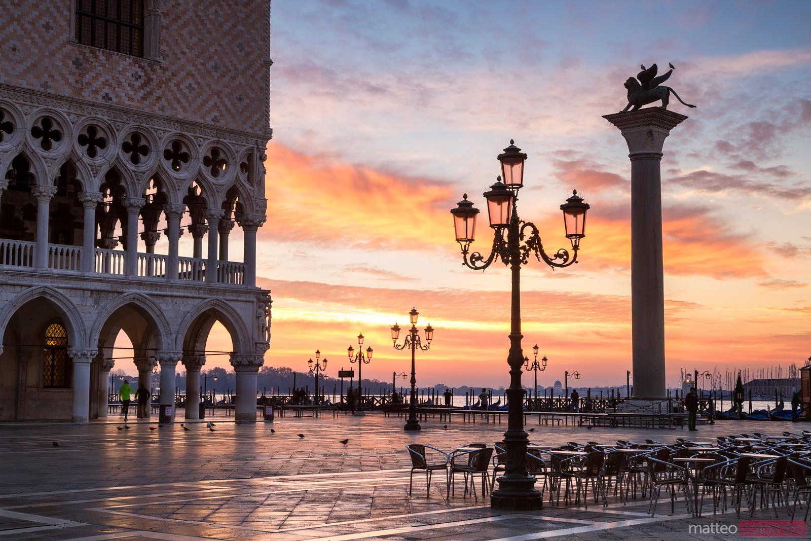 Awesome sunrise over St Marks square, Venice