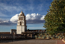 "Village square and belfry of the so called ""Sistine Chapel of the Andes"" / Capilla Sixtina de los Andes, Curahuara de Carangas, Oruro Department, Bolivia"