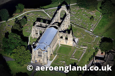 aerial photograph of Bolton Priory  12th-century Augustinian monastery Wharfedale  North Yorkshire  England UK. Bolton Abbey was founded in 1154 and dissolved by Henry VIII in 1539