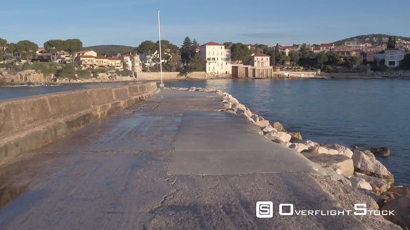 Aerial view of Bandol bay from the sea, filmed by drone, Bandol, France
