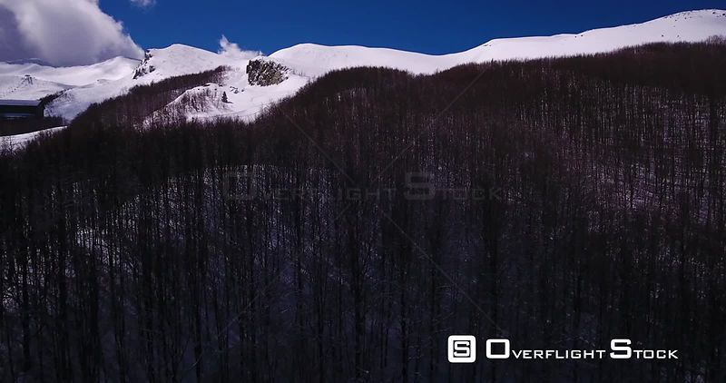 Aerial, dark wood in the snowy mountains on a sunny day in Abetone in Tuscany Italy