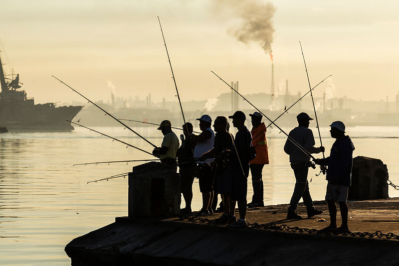 Fisherman at the Entrance to Havana Harbour