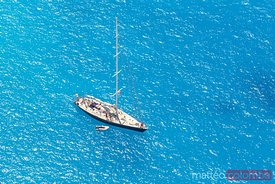Aerial view of sail boat and blue sea, Zakynthos, Greece
