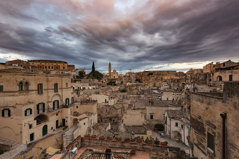 Skyline of Matera at Dusk