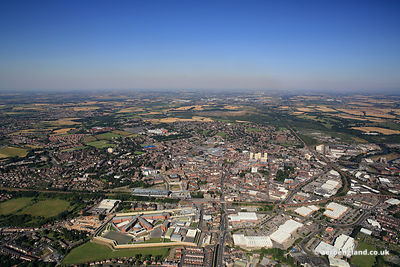 aerial photograph of  Wakefield, West Yorkshire, England UK.