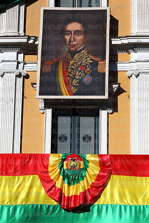 Portrait of Mariscal Andres de Santa Cruz on presidential palace for Independence Day, La Paz, Bolivia
