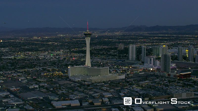Stratosphere Tower and Cityscape with Night Life of Las Vegas Nevada