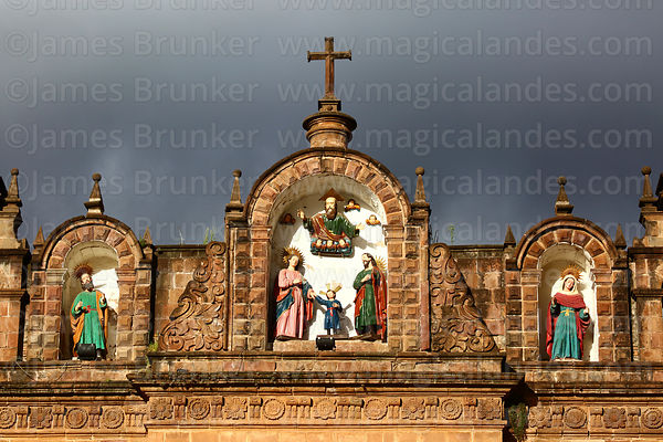 Statues of the Holy Family (centre) and Mary's parents on top of facade of the Temple of the Holy Family / Templo de la Sagrada Familia, Cusco, Peru