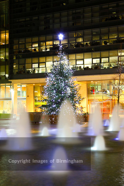 Brindleyplace, central square, Birmingham at christmas time.