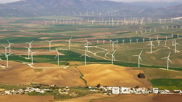 Aerial View of Wind Farm (one of the Largest in Europe), Spain
