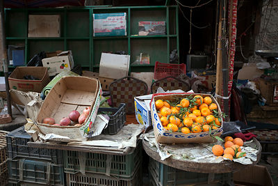 Egypt - Cairo - Pomegranates and organise in boxes in a market in the Khan al-Khalili Cairo