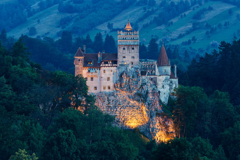 Elevated View of Bran Castle at Dusk