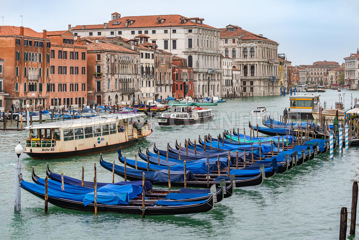 VENICE, ITALY - NOVEMBER 01, 2018: Lots of moored gondolas in winter on the grand canal in Venice, Italy.