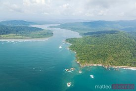 Aerial view of coastline, Drake bay, Osa peninsula, Costa Rica
