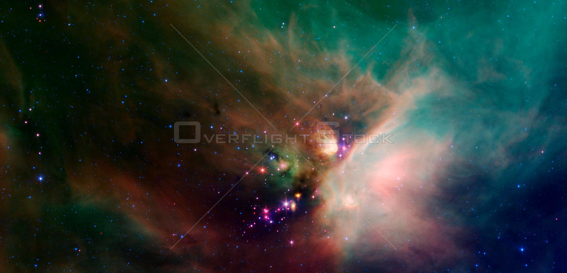 OUTER SPACE Rho Ophiuchi Dark Cloud - circa 2018 - Newborn stars peek out from beneath their natal blanket of dust in this dynamic image of the Rho Ophiuchi