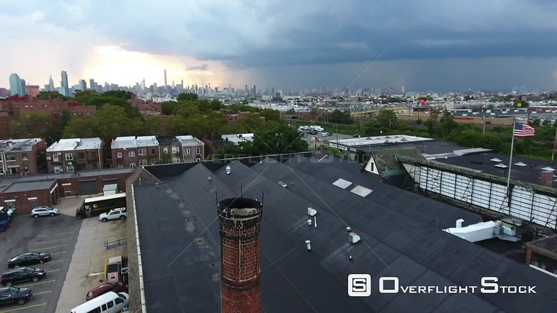 Drone Video Brooklyn NYC with Manhattan. Dramatic sky.