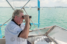 RO Dennis Thompson, sheep-spotting. Top of the Gulf Regatta 2017
