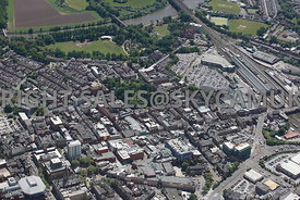 Preston aerial photograph looking across from Friargate towards Fishergate and Winckley Square and the railway station