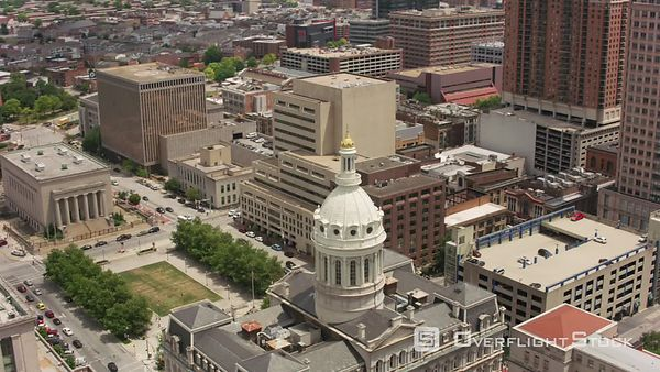 Baltimore, Maryland Aerial view of Baltimore City Hall.  Shot with Cineflex and RED EpicW Helium.