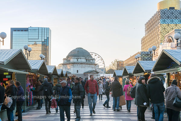 Shoppers at the German Market, Birmingham, England. Centenary Square.
