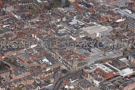 Chester aerial photograph  looking from the corner of Bridge Street and Pepper street towards Eastgate Street