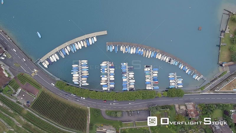 Marina at Oberhofen Village on Thunersee Lake Switzerland