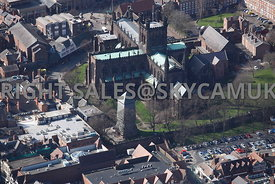 Chester aerial view looking across Frodsham Street towards Chester Cathedral