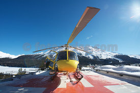 Heicopter on roof of Klinik Gut in Saint St. Moritz