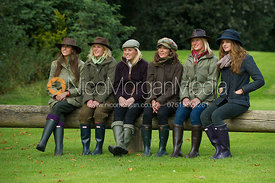 Line of six girls on a game shoot in England