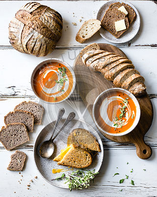 Tomato Soup, Bread, and Grilled Cheese Sandwich