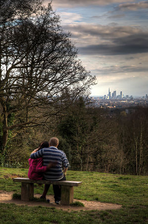 Lovers looking over London