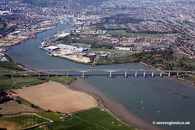 aerial photograph of Orwell Bridge Ipswich, Suffolk uk