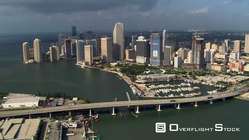 View of Miami skyscrapers and waterfronts